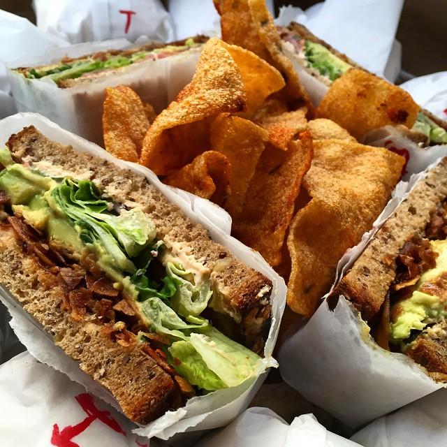 avocado coconut bacon sandwich from Spreads NYC