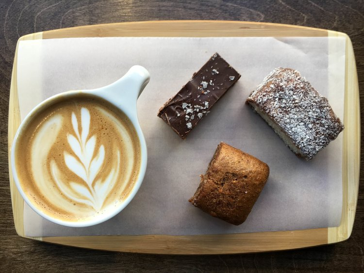 lamingtons and coffee from South Cross Coffee NYC