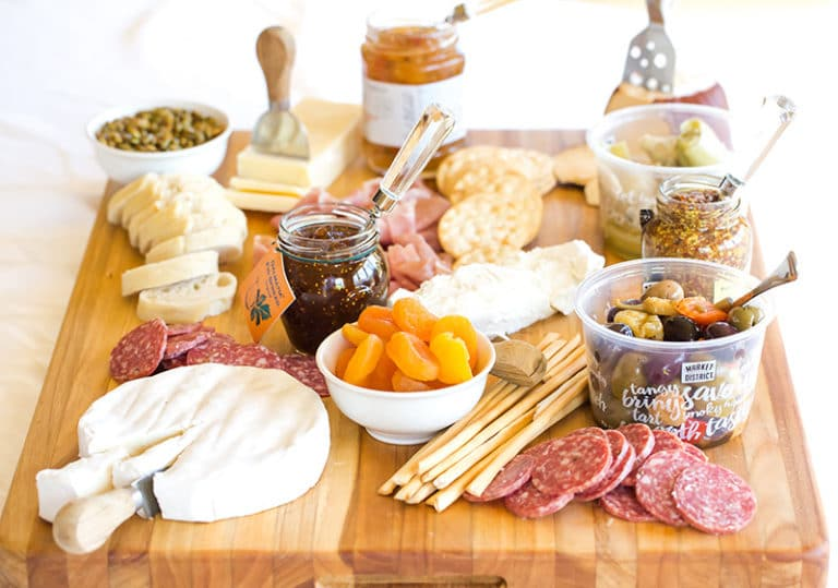 cheese platter with antipasto
