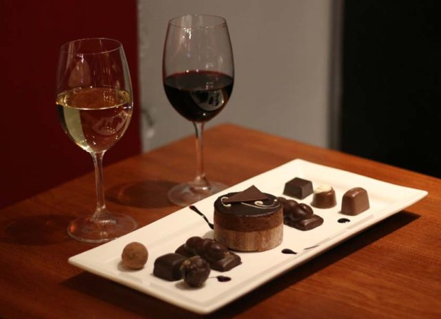 glasses of wine with chocolates
